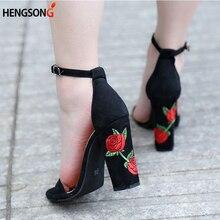 Осенние замшевые Обувь женщина Летние босоножки с вышивкой на высоком каблуке женские босоножки в этническом стиле с цветочным принтом партия обуви плюс Размеры Zapatos Mujer