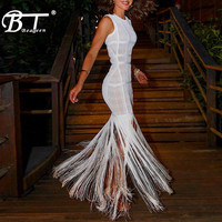 Beateen 2019 Summer New O Neck Sleeveless Plaid Tassel Women Elegant Fringe Party Dress Ankle Length Bodycon Ball Dress White
