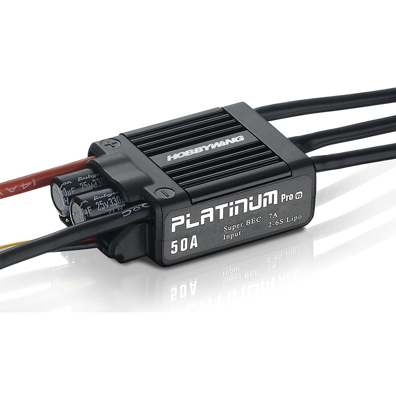 HobbyWing Platinum 50A V3 High Performance Brushless ESC for RC Helicopter Fixed Wing Multi-Rotor 1pcs original hobbywing platinum 100a v3 rc model brushless esc for multicopter for align trex 550 600 700 rc helicopter fixed w