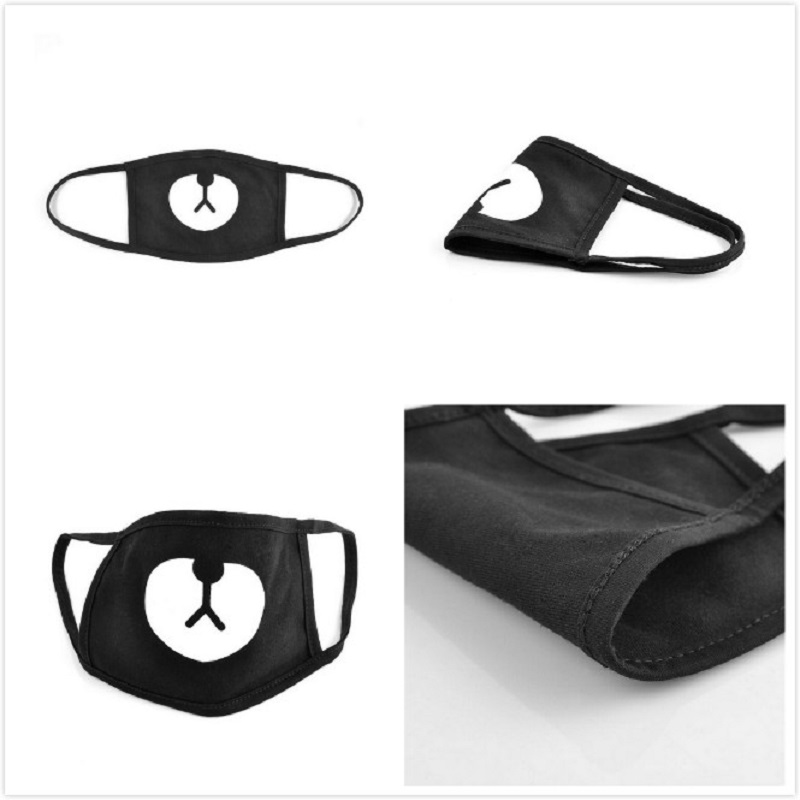 Cotton Dustproof Mouth Face Mask Unisex Korean Style Kpop Black Bear Cycling Anti-Dust Cotton Face Protective Cover Masks