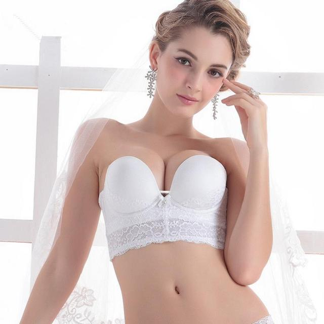 109864b4c5484 Hot Sale Strapless Wedding Bridal Bra Intimates Exquisite Embroidery Royal  Cup Party Bra Slip Resistant Bride Push Up Bra Top