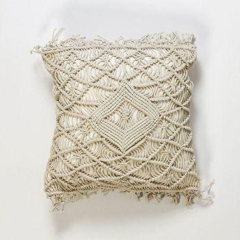 Decorative Macrame pillow cover Handmade macrame BOHO cushion cover/handmade cotton rope macrame throw pillow cover фото