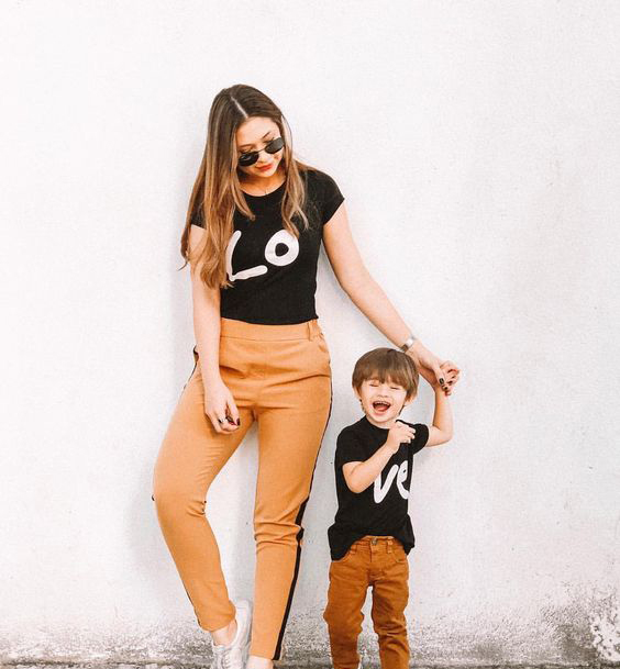 Matching Mom and Child Shirts Mother and Daughter Son Shirts Summer Short Sleeve Casual Loved Mommy and Kid Family Look Outfits