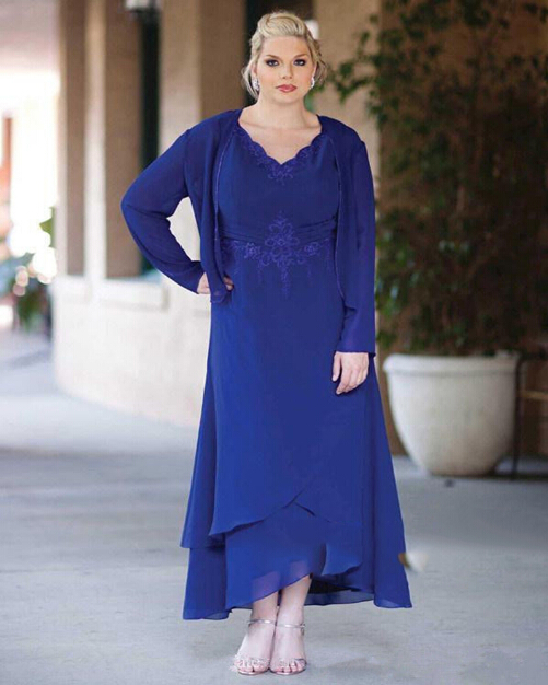 16 With Jacket Mother Of The Bride Dresses Plus Size Long Sleeve