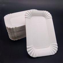10 шт./компл. одноразовые бумажные тарелки прямоугольная посуда набор бумажных тарелок фестиваль Свадьба Рождество День рождения поставки