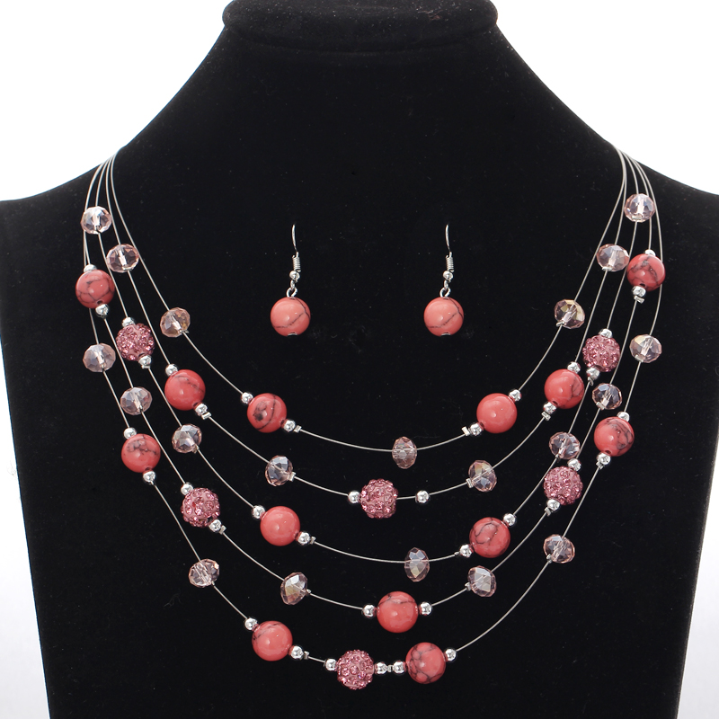 Pink Natural Stone Chunky Jewelry Sets Ball Choker Necklace 5layers Chain Silver Plated Jewelry Sets
