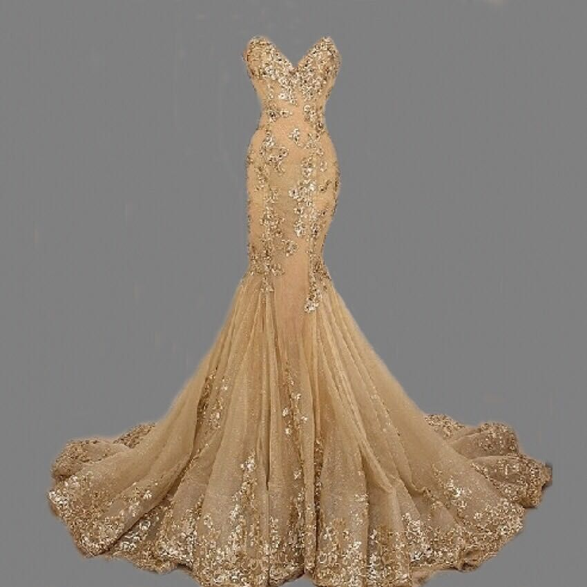 Hot Sale Long Gold Mermaid Prom Dress 2016 New Arrival Appliques ...