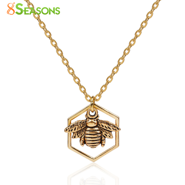 "8SEASONS Women Fashion Jewelry Necklace gold-color & Antique gold-color Honeycomb Bee Hollow 45cm(17 6/8"") long, 1 Piece"