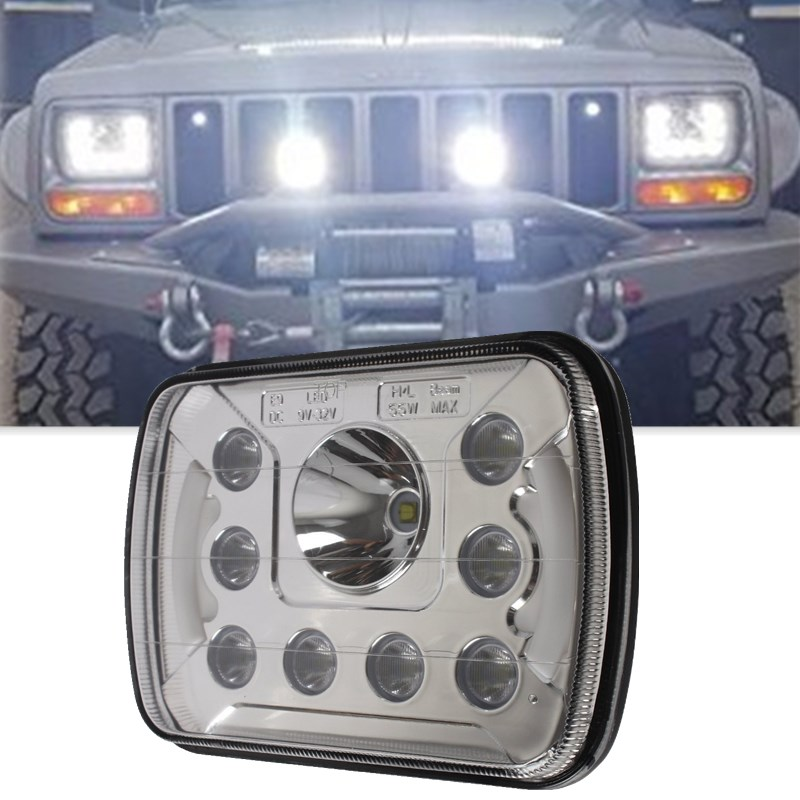 1 Pair 5*7 Inch High/Low Beam DRL 6x7 Led Square Headlights With Angel Eyes For Jeep Wrangler YJ Cherokee XJ Truck 4X4 Offroad 5 x7 6 x7 high low beam led headlights for jeep wrangler yj cherokee xj h6054 h5054 h6054ll 69822 6052 6053 with angel eye