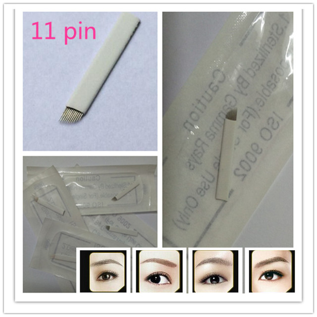 100 PCS Permanent Makeup Manual Eyebrow Tattoo Bevel Blades 11 Needles