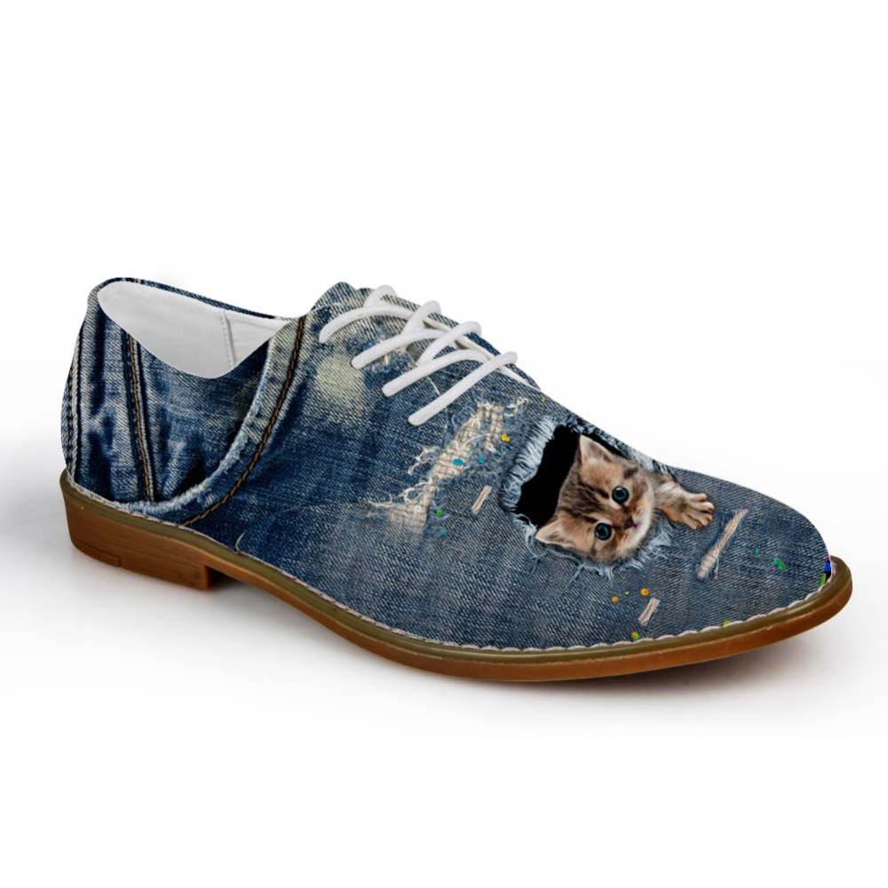 Noisydesigns Boys Oxford Shoe Denim Color cute little animal Print - Men's Shoes - Photo 2