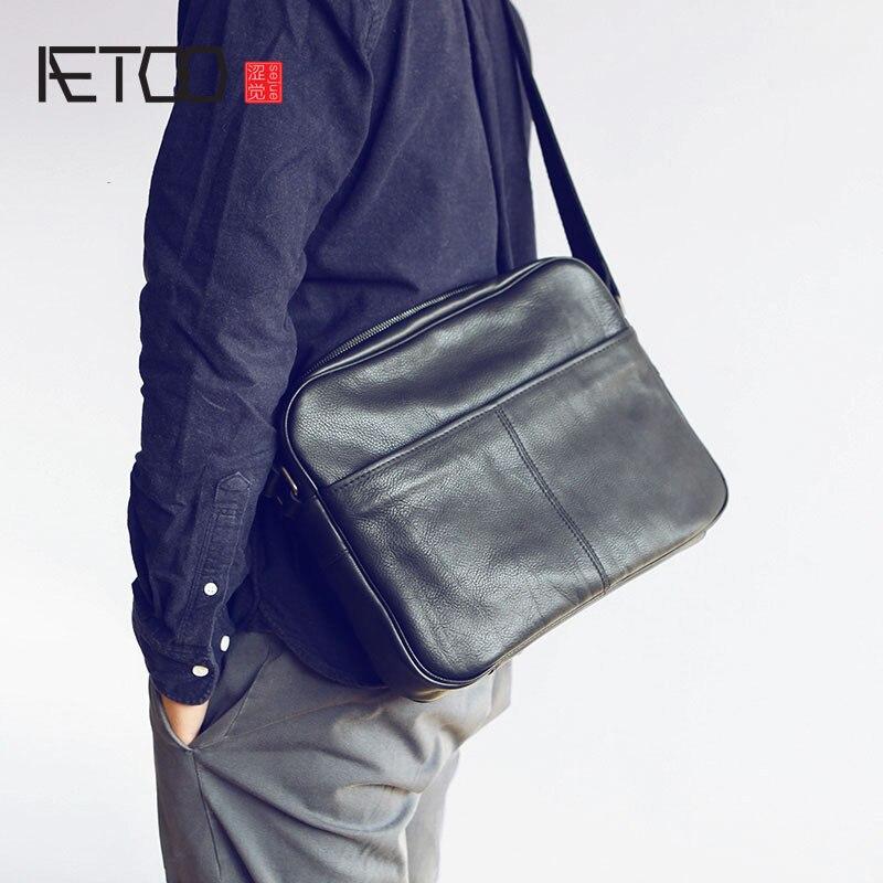 Große Umhängetasche Schwarzes Doppel Männlichen reißverschluss Rindsleder Leder Tasche Einzelnen Einfache brown Kapazität Aetoo Schulter Männer vqR8f0