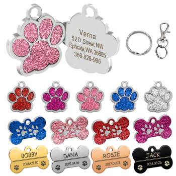 Personalized Dog Tags Engraved Cat Puppy Pet ID Name Collar Tag Pendant Pet Accessories Bone/Paw Glitter