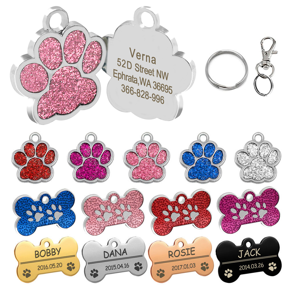 Personalized Dog Tags Engraved Cat Puppy Pet ID Name Collar Tag Pendant Pet Accessories Bone/Paw Glitter handbag