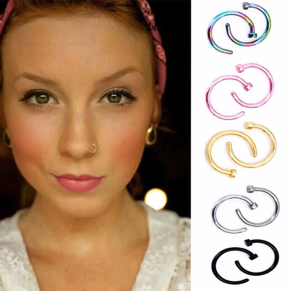 1 шт медицинская ноздри, титановые золотые серебряные кольца в нос, клипса на нос, кольцо для пирсинга, ювелирные изделия для женщин