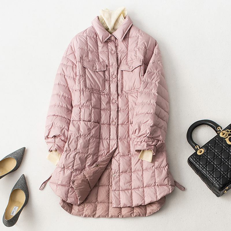 새로운 랜턴 슬리브 라이트 얇은 다운 재킷 여성 긴 90% 화이트 오리 아웃웨어 봄 가을 여성 캐주얼 다운 코트 yp2059-에서다운 코트부터 여성 의류 의  그룹 1