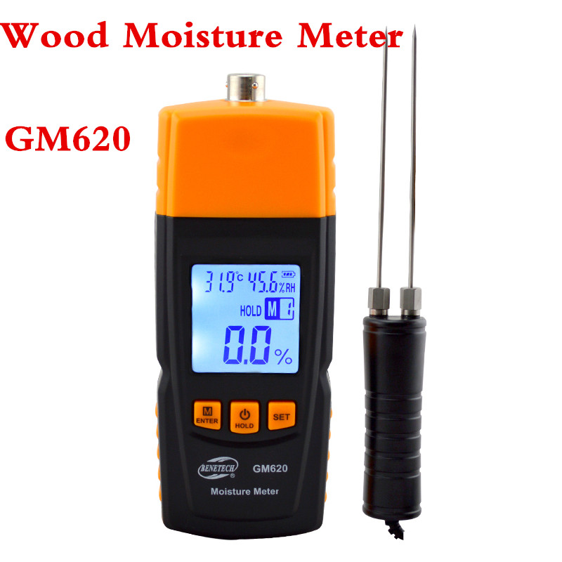 GM620 Digital LCD Display Wood Moisture Meter 2~70% Humidity Tester Timber Damp Detector portable High Quality saipwell lcd display digital wood moisture meter temperature humidity meter tester gm610