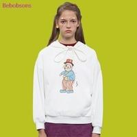 Hoodies Long Sleeve Women Short Hooded Sweatshirts White Bow Tie High Quality Cotton Sweatshirt Female Pullover