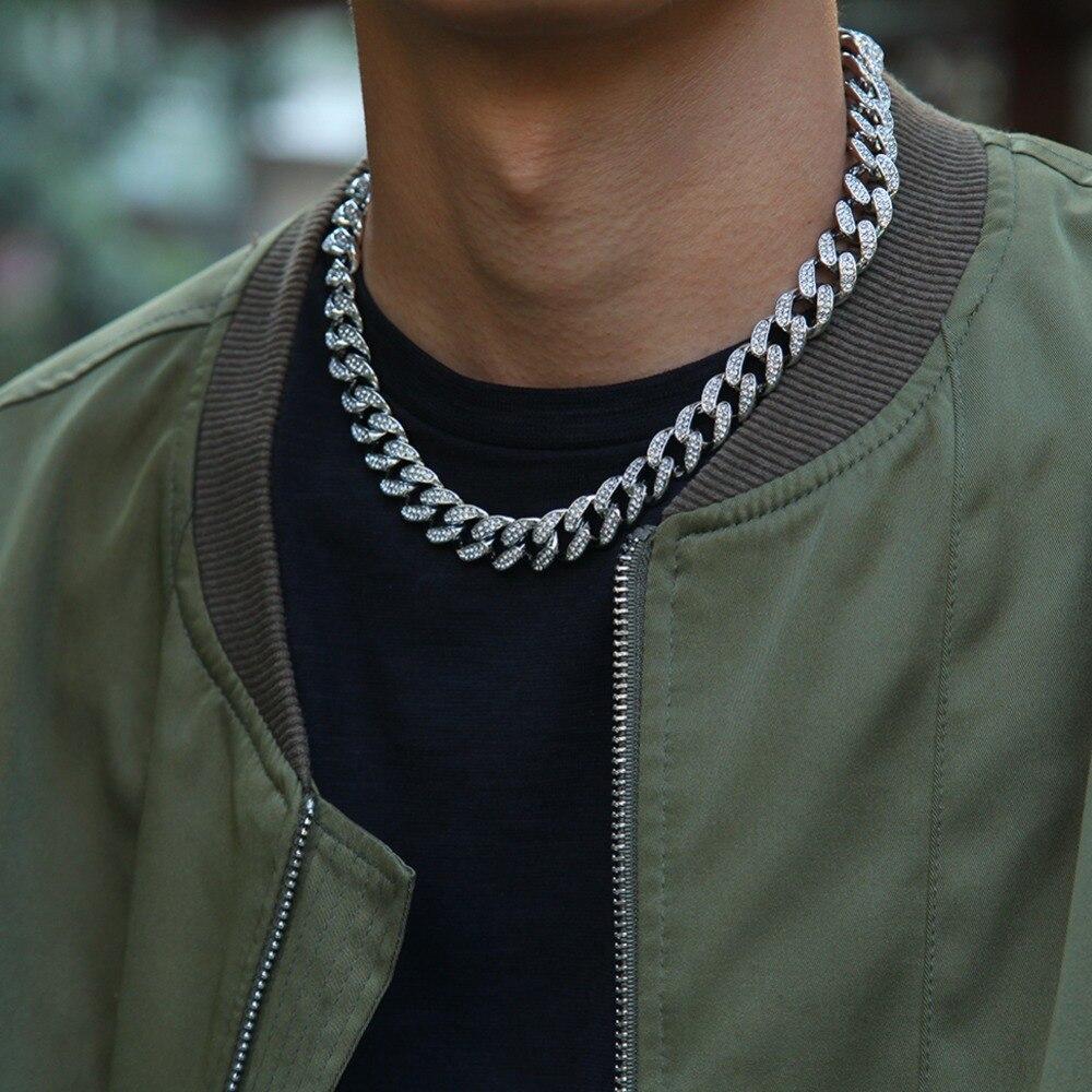 Miami Cuban Link Chain Gold Silver Necklace Bracelet 3