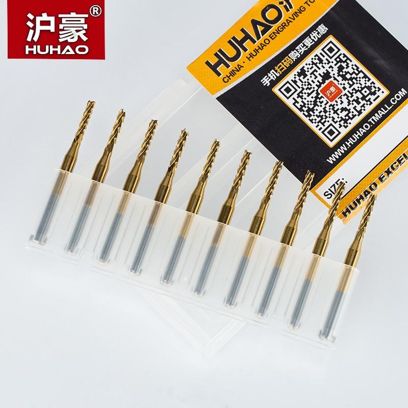 HUHAO 10 pz / lotto 3.175mm TiN Rivestimento Fresa per mais taglio - Macchine utensili e accessori - Fotografia 6