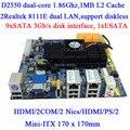 Atom D2550 dual core motherboard servidor de armazenamento NAS NVR 10 SATA mini itx 2 COM 2 LAN HDMI