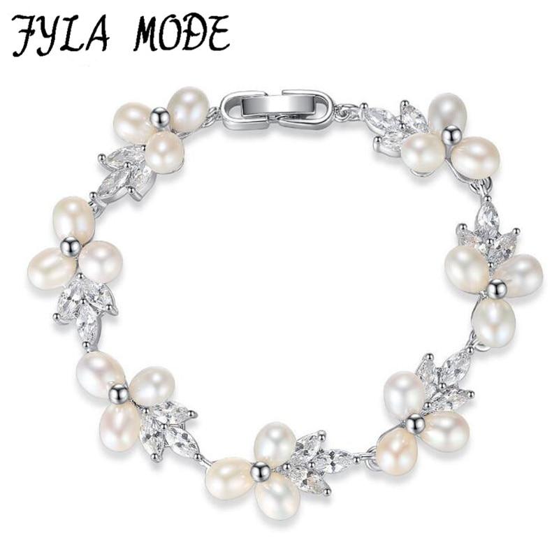 Fyla Mode Fashion Brand Design Luxury Silver Color Charm Crystal Cubic Zircon Freshwater Pearl Bead Bracelet For Women Jewelry
