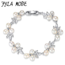 Fyla Mode Fashion Brand Design Luxury Silver Color Charm Crystal Cubic Zircon Freshwater Pearl Bead Bracelet For Women Jewelry