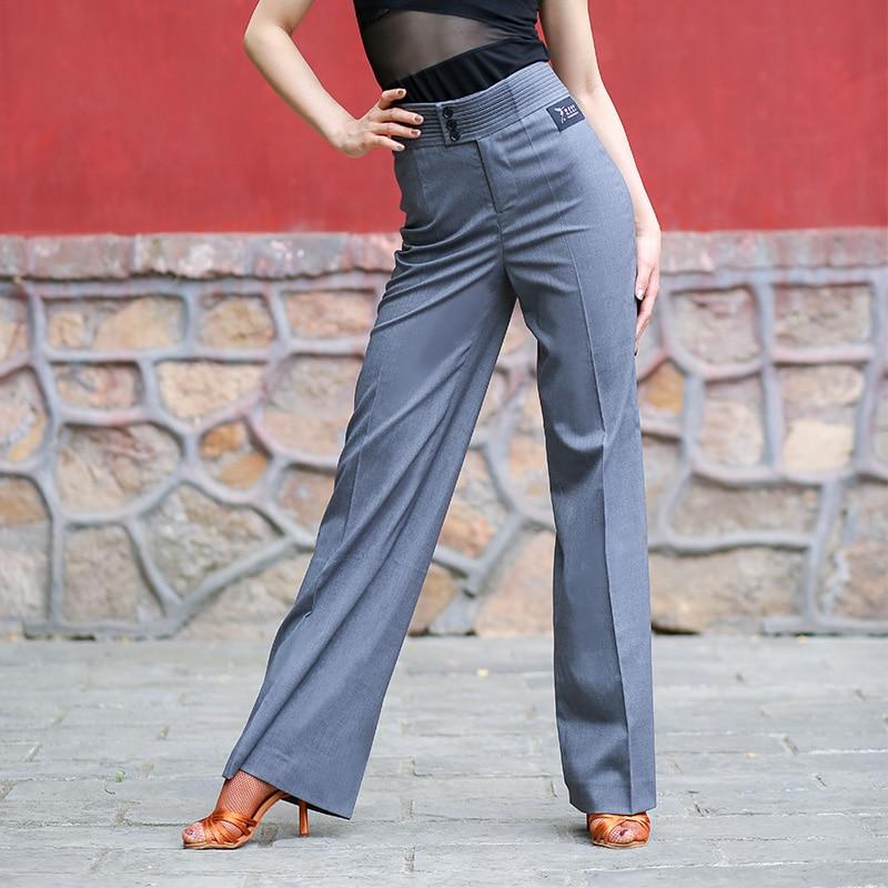 Ballroom Latin Dance Pants Square Pants For Woman Gray Wide Leg Trousers Ballroom Practice Wear Dancing Clothes Women DN2635
