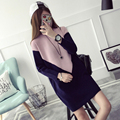 Fashion Maternity Sweater Dress Winter Pregnant Women Knit Breastfeeding Dresses Patchwork Pullover Sweaters with Nursing Zipper