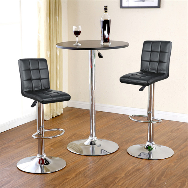 2Pcs/set Nine-grid Cushion Chair Bar Stools Swivel Height Adjustable Chairs Synthetic Leather With Footrest No Armrests HWC