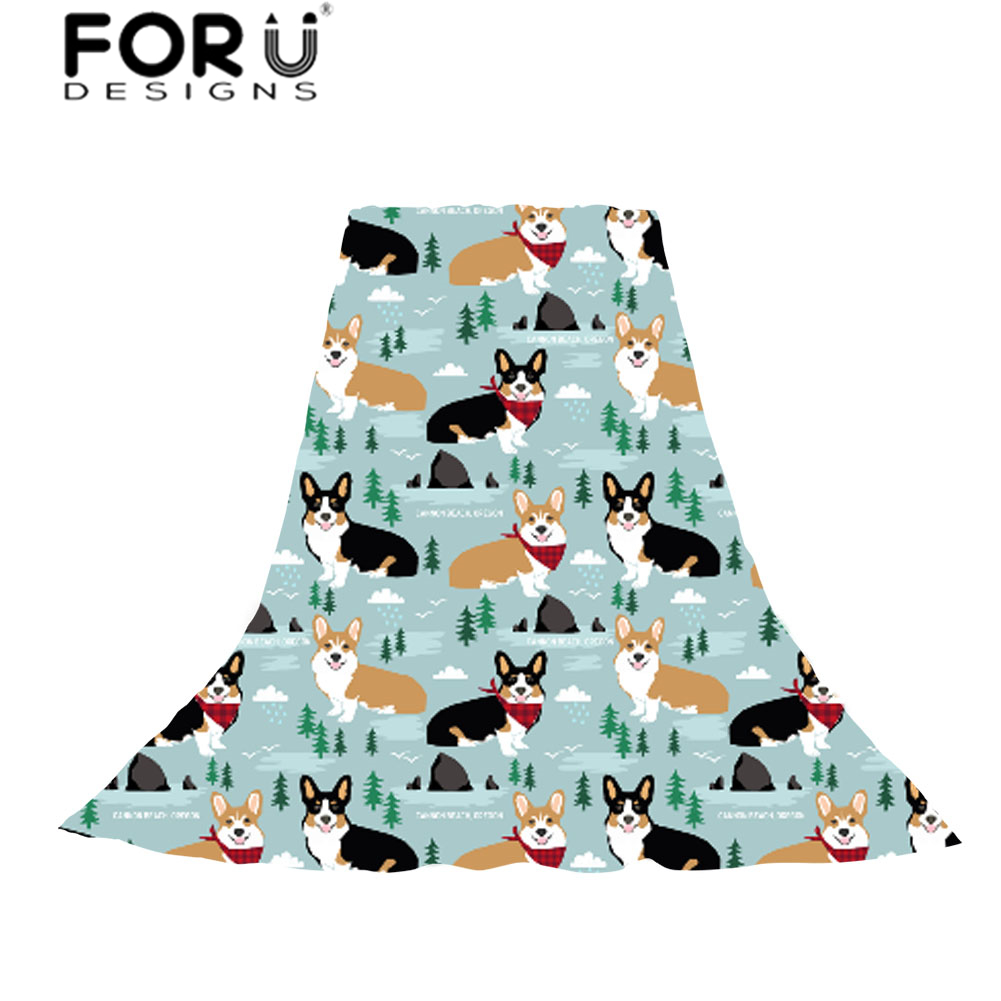 FORUDESIGNS Funny Corgi Print Kawaii Puppy Women Scarves Ladies Fashion Wraps Shawl for Females Sun Protection Scarf Neckerchief