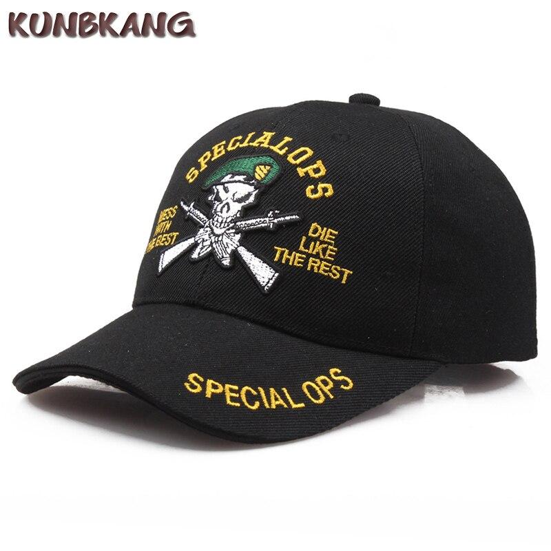 New Men Skull Tactical Baseball Cap Cotton Letter Army Snapback Caps Gorras Male Summer Sports Gun Patch Snapback Hat Casquette бейсболк мужские