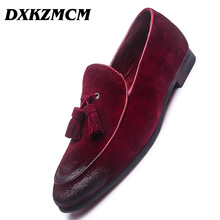 DXKZMCM Men's Fashion Soft Moccasins Suede Leather Dress Wedding Loafers Vintage Shoes Male Oxfords Driving Shoes