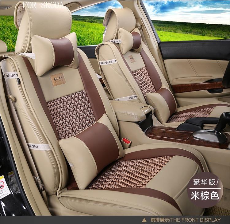 ФОТО for skoda octavia 2 fabia rapid skoda yeti superb pu Leather weave Ventilate Front & Rear Complete car seat covers four seasons