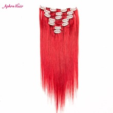 Aphro Hair Brazilian Clip In Hair Extensions 100% Human Hair Straight Full Head Set Non-remy Hair 7pcs 70g 16″-24″ Red Color