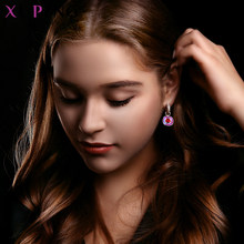 Xuping Jewelry Luxury Exquisite Crystals from Swarovski Gold Color Plated Earrings for Women Valentine's Day Gifts M65-203(China)