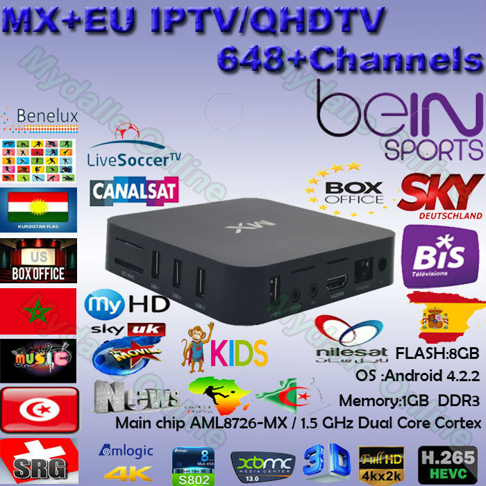 US $139 0 |MX Android tv box europe IPTV/OTT Box Arabic French German UK  Italy Africa Live Bein Sports Movies IPTV Channel For Europe-in Set-top  Boxes