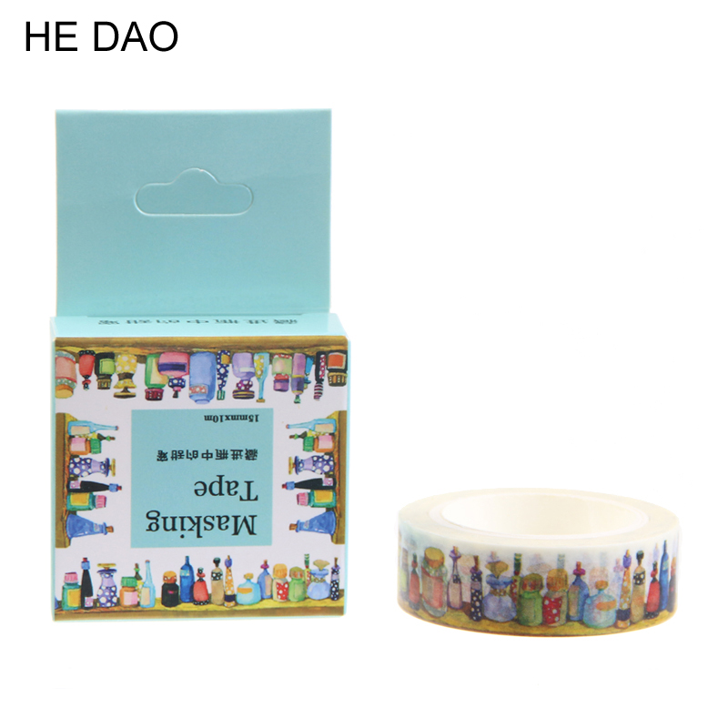 1 Pc / Pack Size 15 Mm*10m Diy Hid The Bottle Of Sweet Washi Tapes / Masking Tape / Decorative Adhesive Tapes / School Supplies