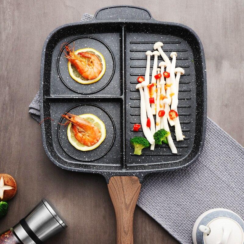 3 Grid Aluminium Alloy Breakfast Frying Pan Cooking Pot Egg Omelet Steak Grill Non-Stick Skillets Multipurpose Kitchen Cookware