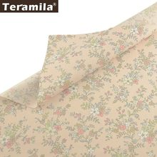 Teramila 100% Cotton Flowers Fabric Meters Telas Tissus DIY Quilts Patchwork Bedsheet Curtains Baby Kid Dress Home Twill Cloth(China)