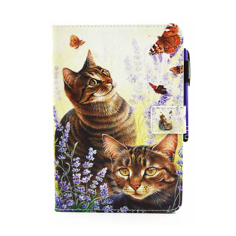 For Samsung Galaxy Tab A 8.0 Inch T355 T350 Tablet Case Flip Leather Stand Cartoon Animal Owl Lip Cat Cover Cases Fundas Coque