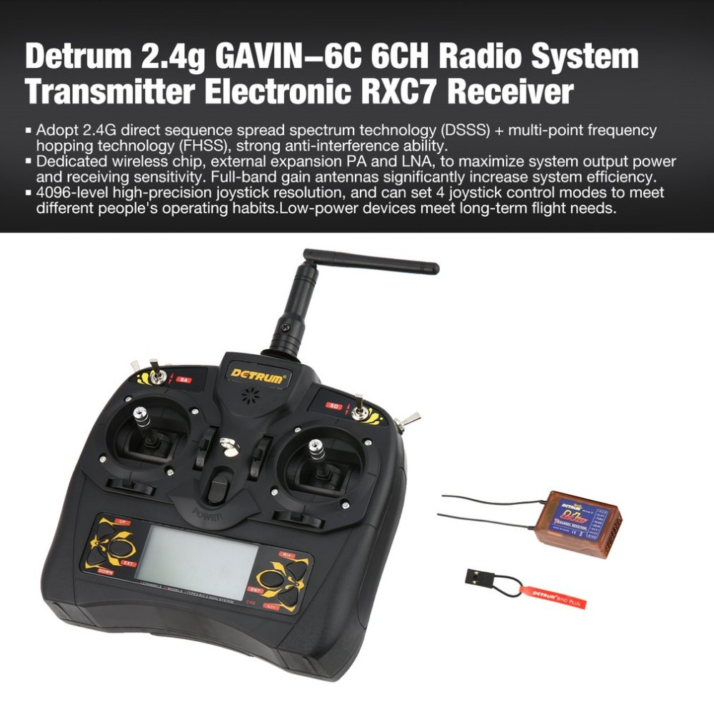все цены на GAVIN-6C 6-Channel DSSS FHSS 2.4G Digital Remote Control + RXC7 Receiver Set for RC Plane Boat Car Model Toys Hobby Accs онлайн
