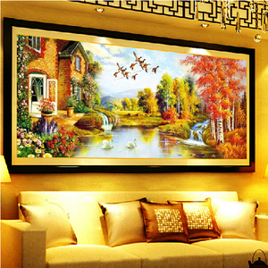 Image 3 - DIY DMC Cross Stitch,Sets for Embroidery Kits,Gold Landscape painting European Garden Pattern Accurate printing Cross Stitching