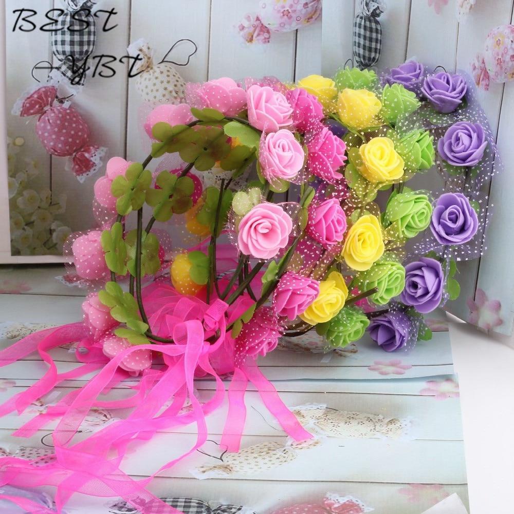2015 New Women Bohemian Rose Flower Headband Kids Wreath Party