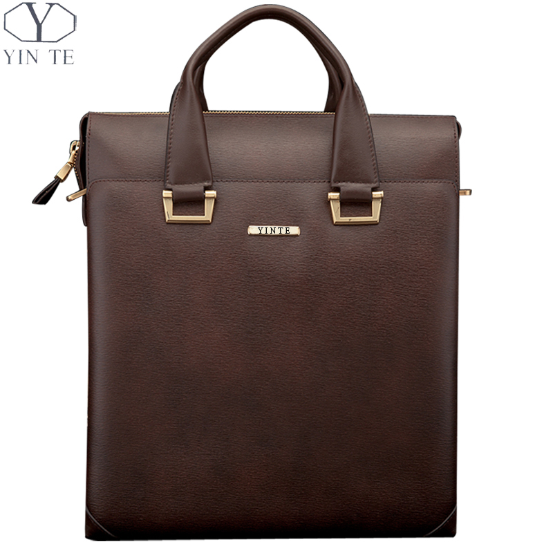 YINTE Men's Leather Briefcase Handbag Men Totes Famous Style Messenger Brown Bag Huge Capacity Business/Office Totes T8206-4 dtbg pu leather women handbag fashion european and american style totes messenger bag original design briefcase zipper 2017