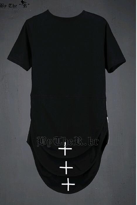 2016 New Fashion Cross Embroidery Harajuku Unique Long T Shirt Men ...