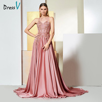 Dressv Beaded A Line Evening Dress Sweep Train Scoop Neck Lace Applique Prom Dress Pink Chiffon Elegant Custom Evening Dress