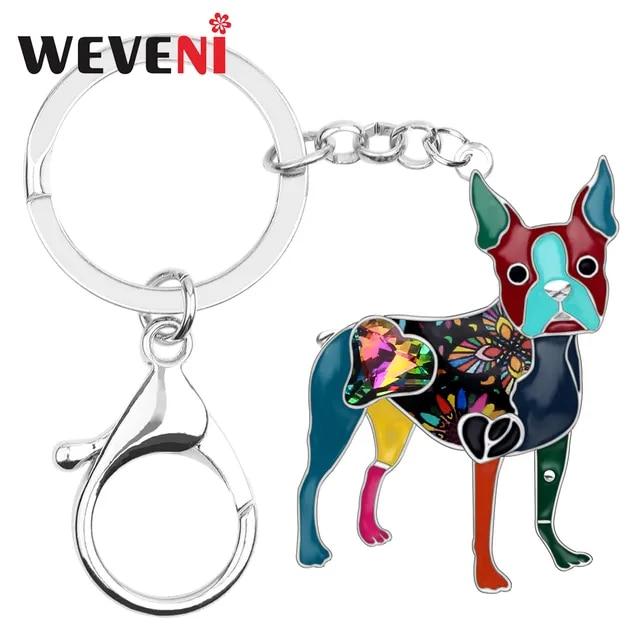 WEVENI Enamel Alloy Rhinestone Boston Terrier Dog Key Chain Keychain Ring Fashion Animal Jewelry For Women Girls Bag Charms Gift