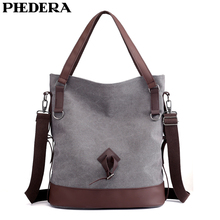 PHEDERA New Large Women Shoulder Bags Casual Vintage Female Handbags 2019 Spring Outdoor Party Gray Purse for
