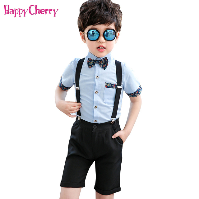 896844559 Toddler Boys Formal Suit Sets for Baby Wedding Party Costume Children Set  Overalls Shorts Bow Tie Shirt Suit Graduation Dress